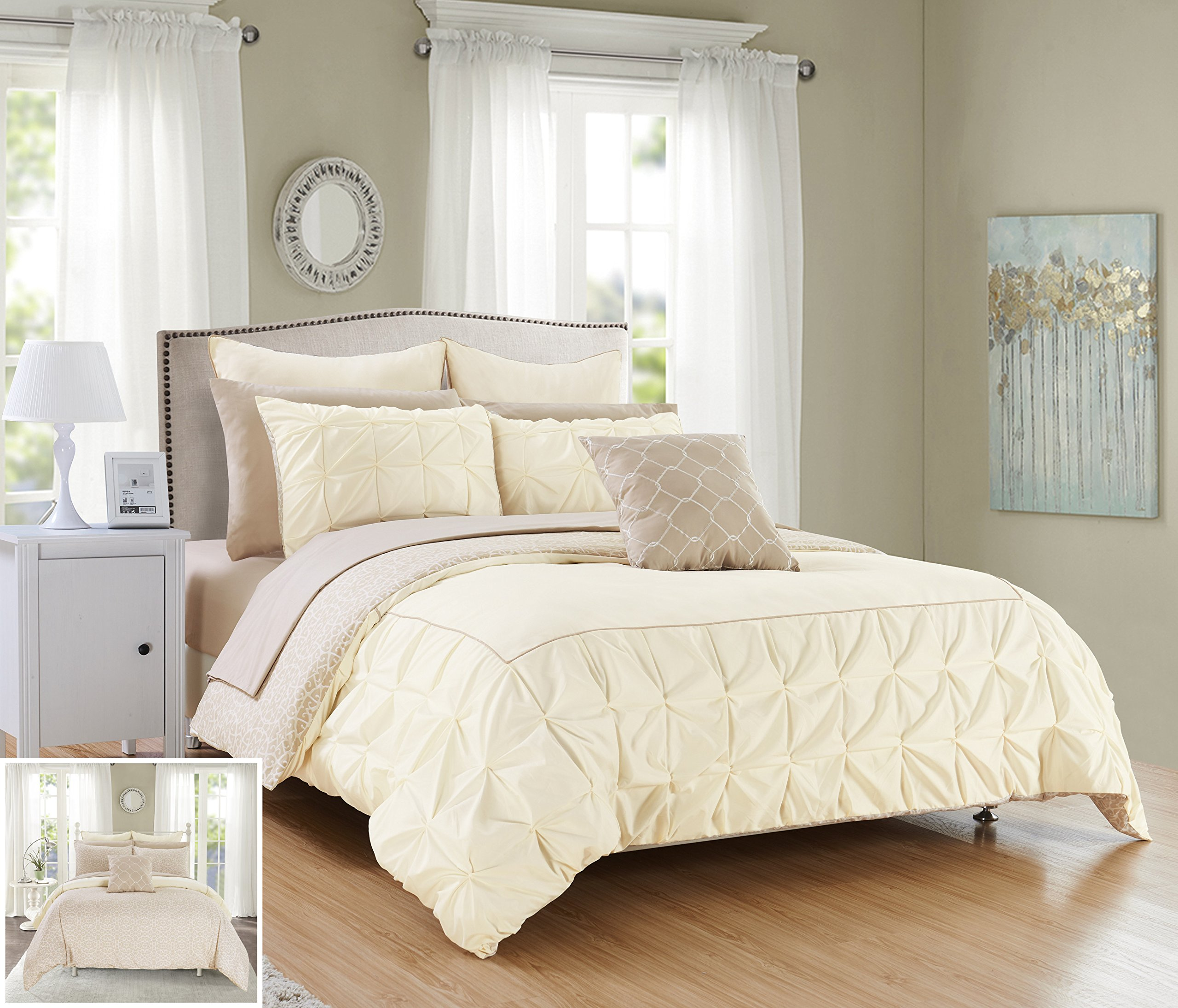 Chic Home 10 Piece Assent Ruffled pinch pleat border with piping detail, REVERSIBLE contemporary printed pattern King Bed In a Bag Comforter Set Beige