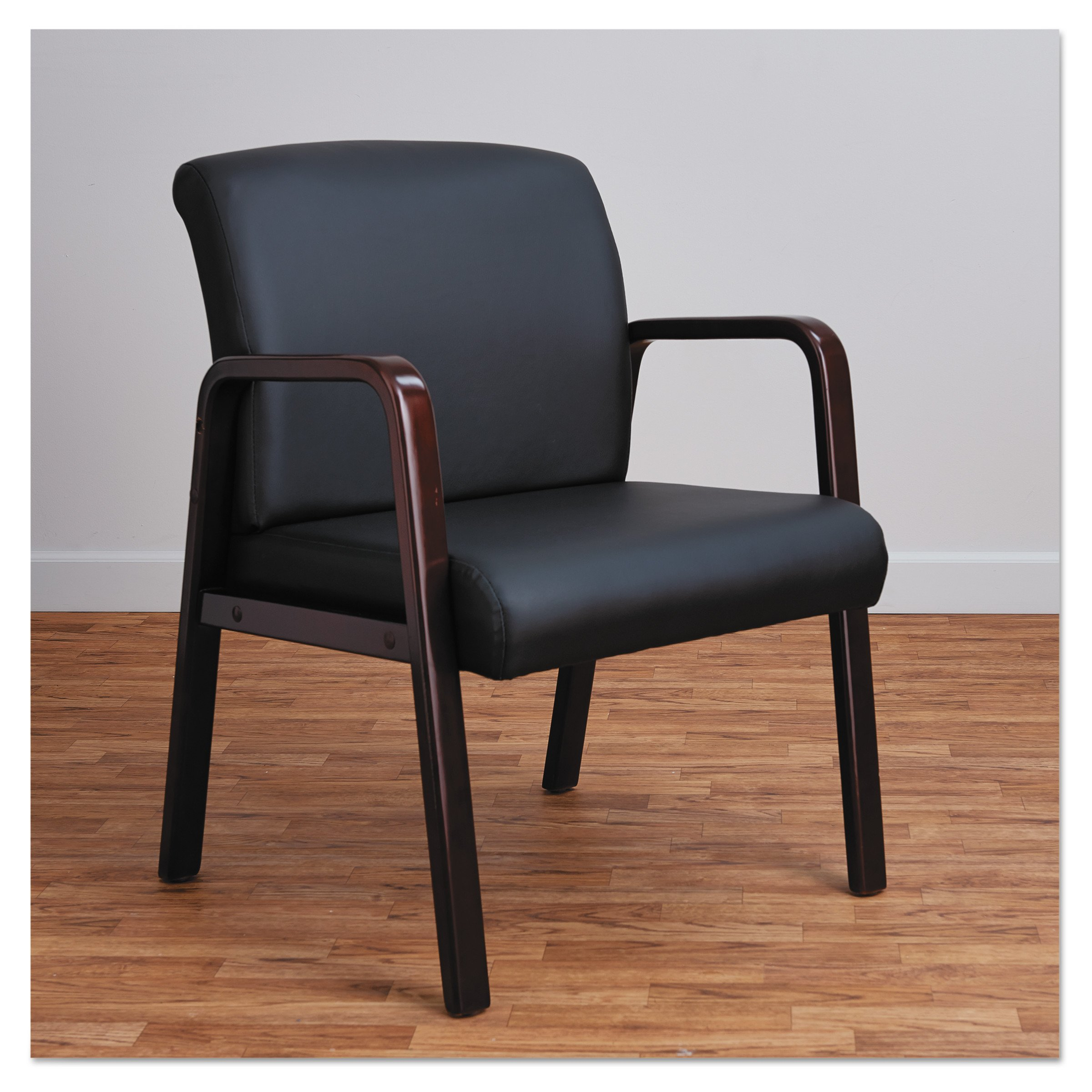Alera ALERL4319M Reception Lounge Series Guest Chair, Mahogany/Black Leather by Alera (Image #3)