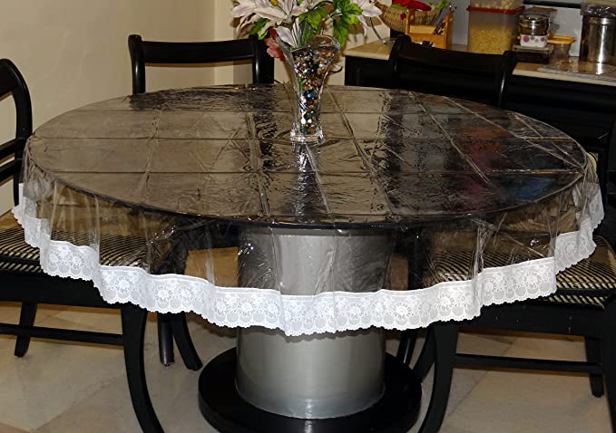 Katwa Clasic - 60 Inches Round Clear Transparent with Lace Border Table Cover
