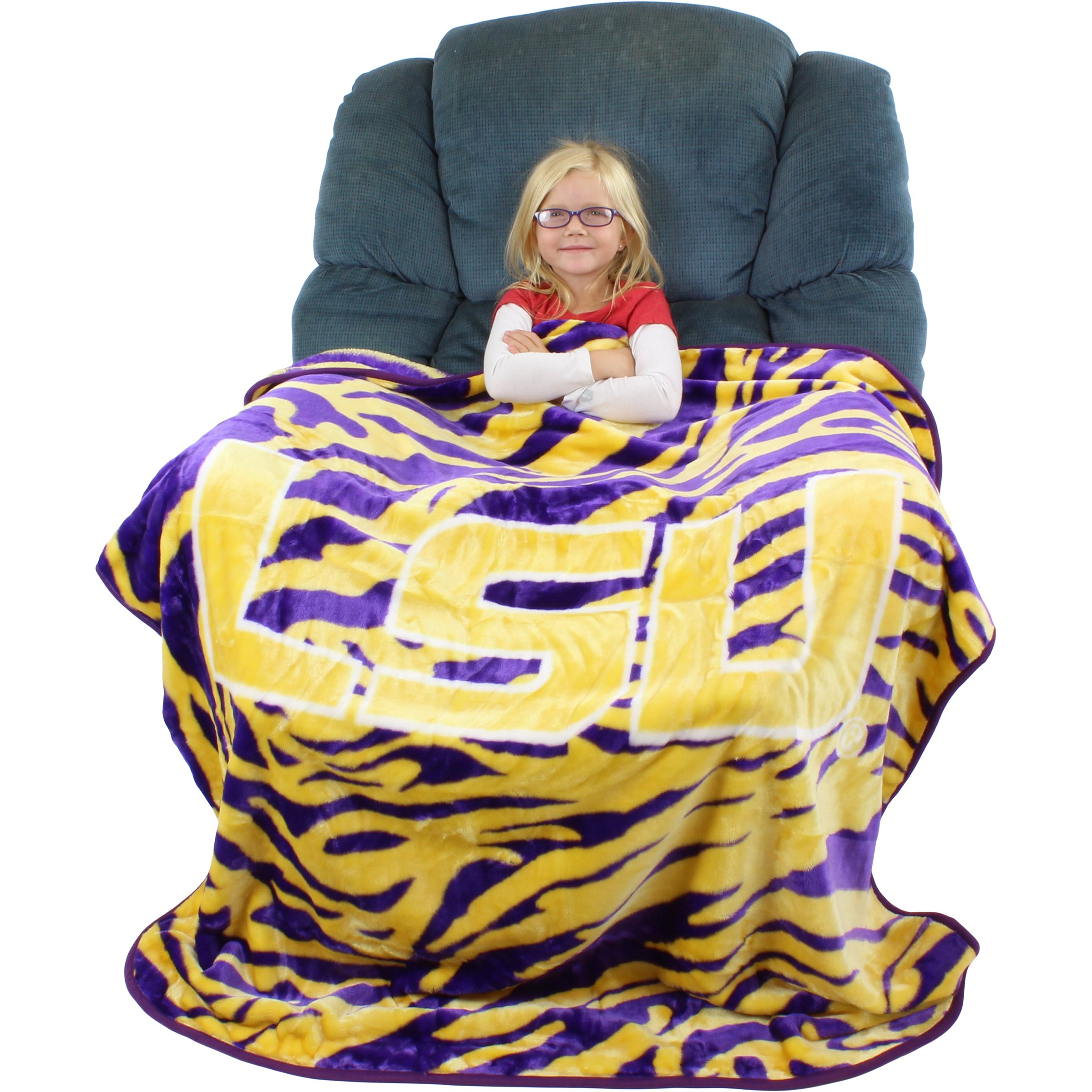 College Covers Louisiana State University Tigers Super Soft Raschel Throw Blanket, 50'' x 60''