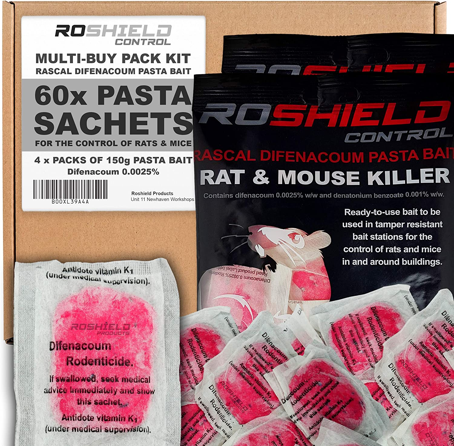 Roshield 10 x Mouse Safety Control Boxes /& 15 x Pasta Mice Poison Killer Sachets