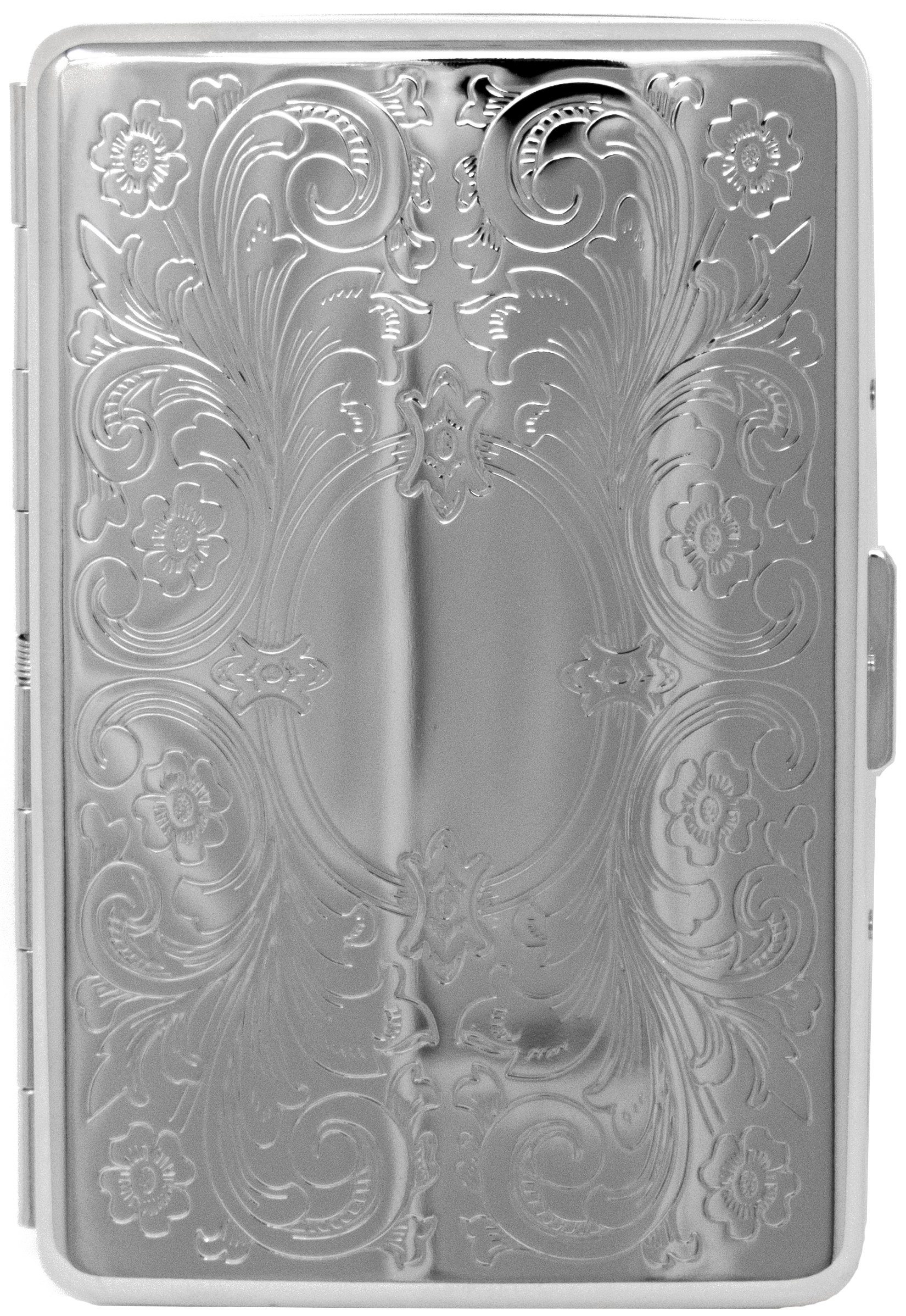 Silver Vintage Victorian Scroll Compact (16 100s) Metal-Plated Cigarette Case & Stash Box