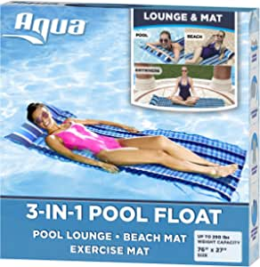 Aqua 3-in-1 Roll-Up Pool Float, Padded Mat for Beach-Land-Water, Roll-Up Mat with Carry Strap, Navy/White Stripe