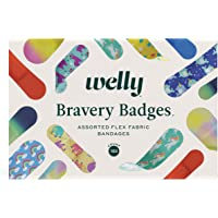 Welly Bravery Badge Box - Flexible Fabric Bandages, Assorted Shapes and Patterns - 100 Count