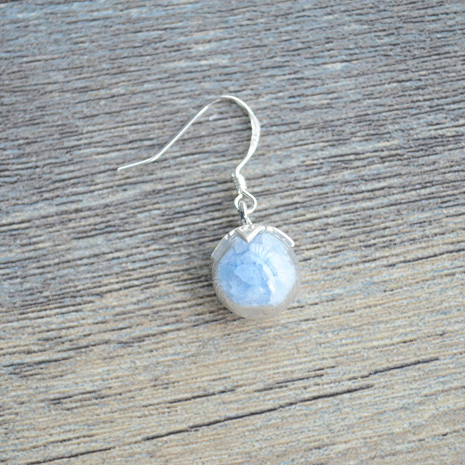 a Pair Blue Luminous Sand Glow in the Dark Glass Ball 925 Sterling Silver Drop Earrings