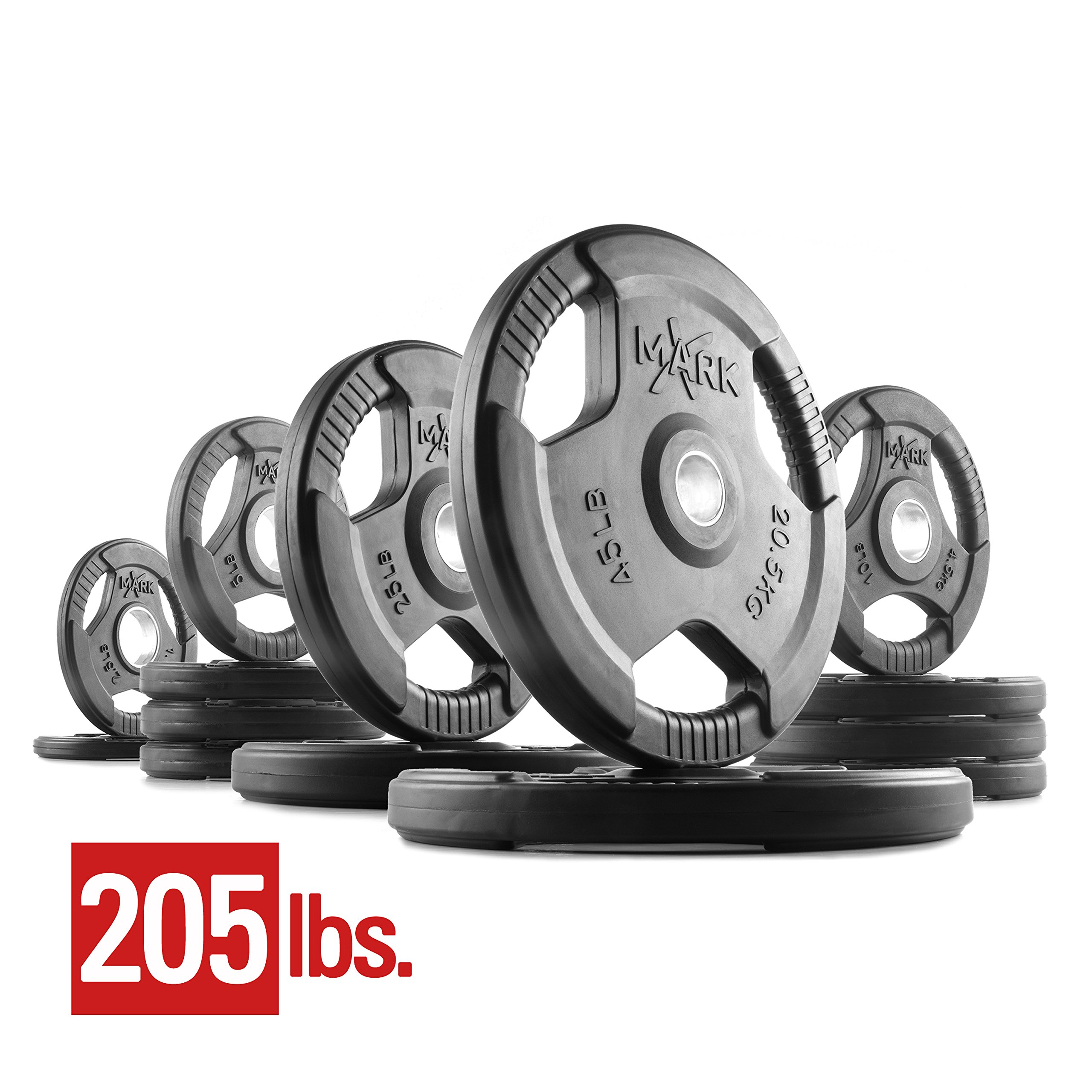 XMark Premium Quality Rubber Coated Tri-grip Olympic Plate Weights - 205 lb. Set