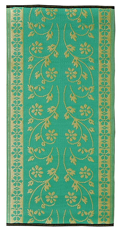 Sapana Mats, 3x6 Inches (Turquoise Green and Golden)