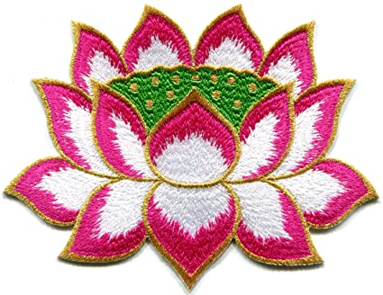 Amazon lotus flower buddhism guanyin pink with gold trim lotus flower buddhism guanyin pink with gold trim embroidered applique iron on patch s mightylinksfo
