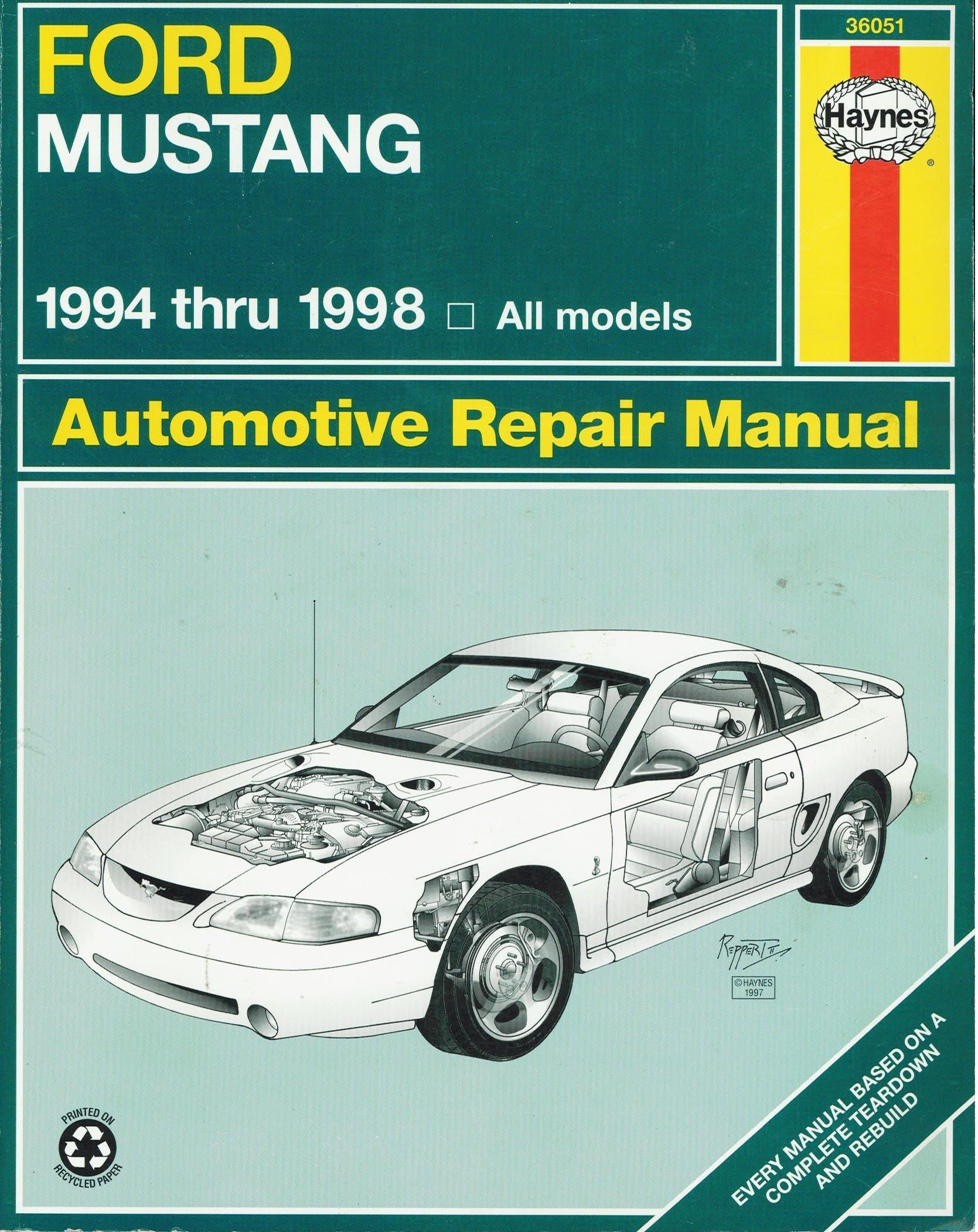 haynes ford mustang 1994 thru 1998 haynes automotive repair rh amazon com 04 Ford Mustang Repair Manual 04 Ford Mustang Repair Manual