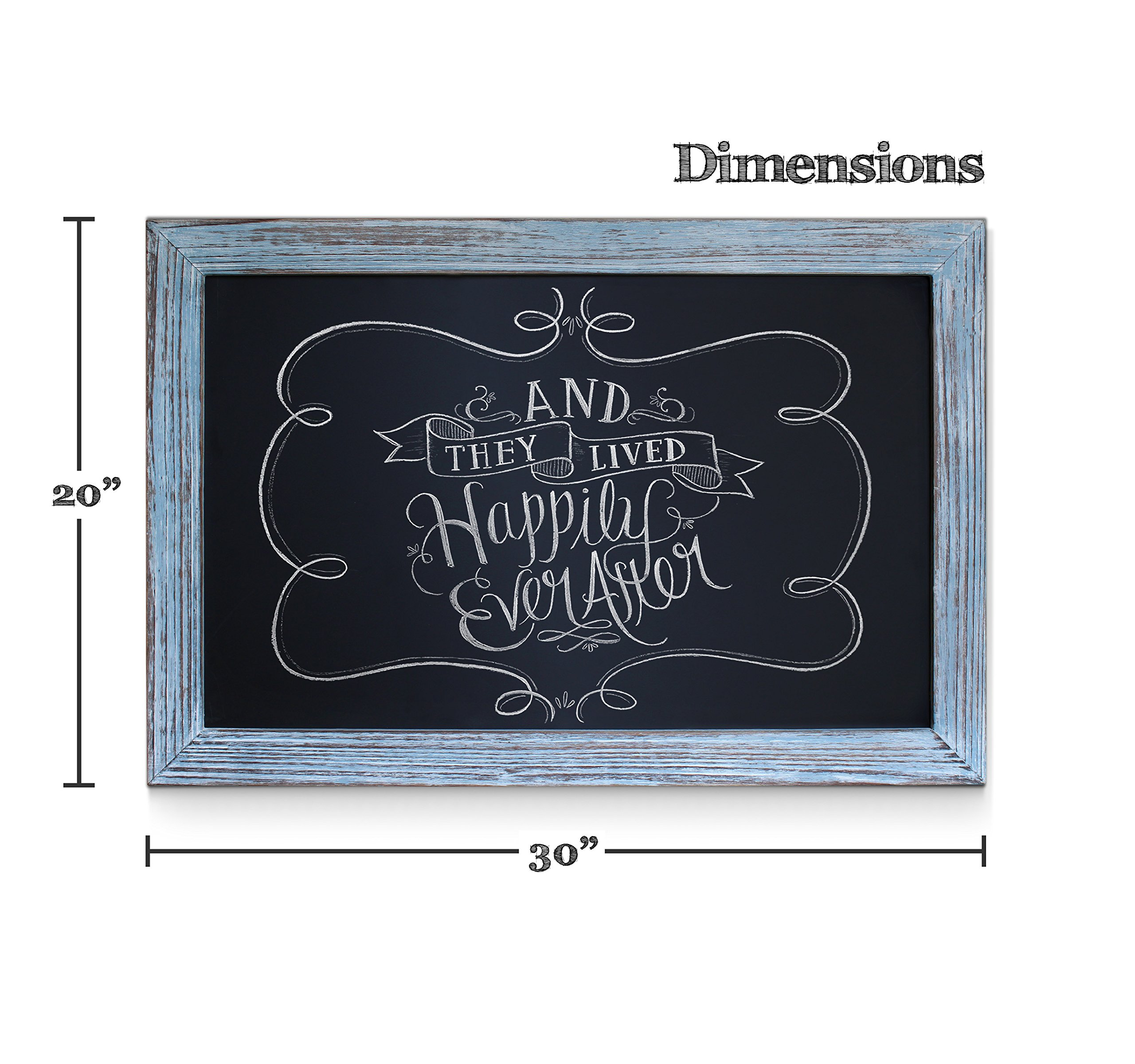 Rustic Blue Magnetic Wall Chalkboard, Extra Large Size 20'' x 30'', Framed Decorative Chalkboard - Great for Kitchen Decor, Weddings, Restaurant Menus and More! … (20''x30'') by HBCY Creations (Image #2)