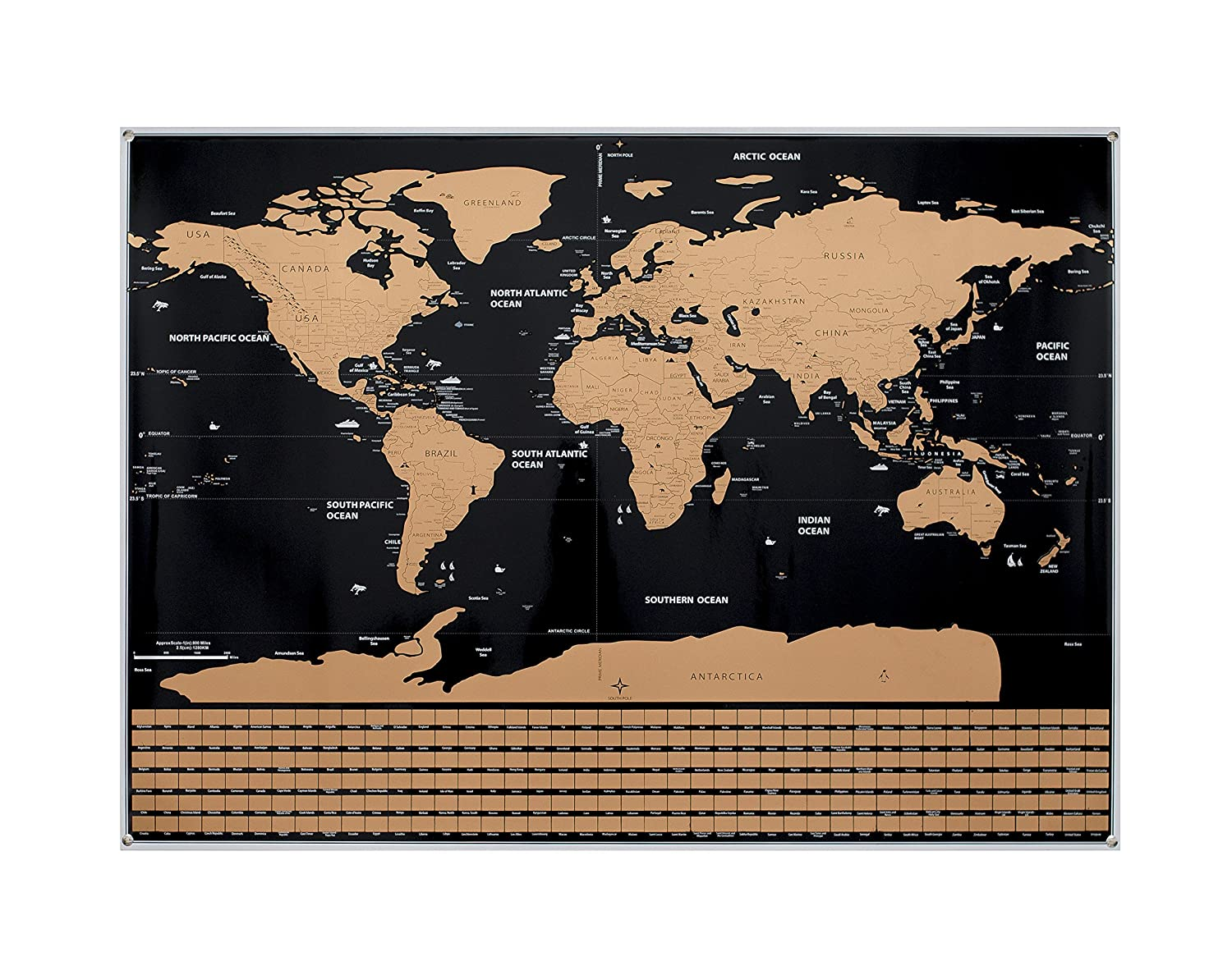 Amazoncom Scratch Off World Map World Countries And Us States - Us-map-with-countries