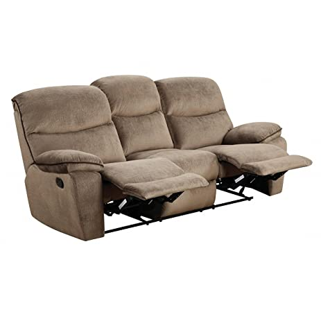 LYKE Home Brown Microfiber Reclining Sofa