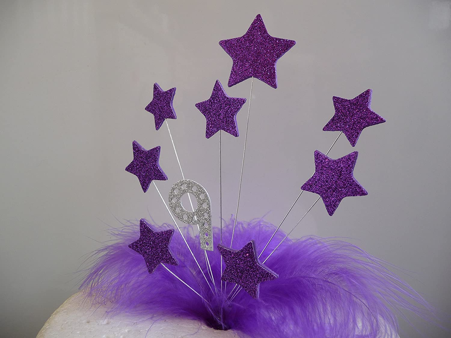 Marvelous Purple Stars Feathers Birthday Cake Topper With Personalised Age Funny Birthday Cards Online Ioscodamsfinfo