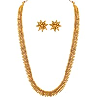 Aheli Bollywood Traditional Gold Tone Necklace Earrings Jewelry Set for Women Wedding Party Ethnic Fashion Wear