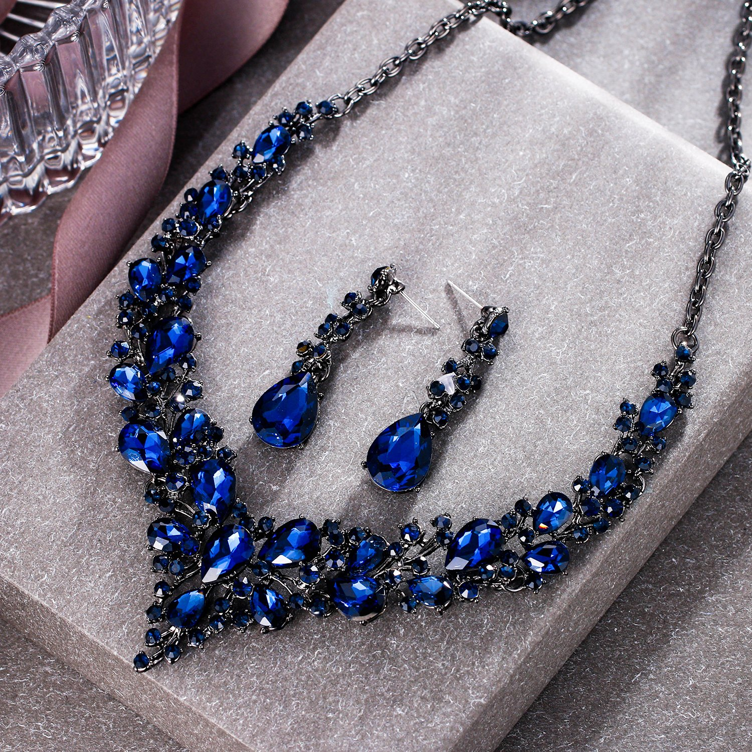 BriLove Wedding Bridal Necklace Earrings Jewelry Set for Women Austrian Crystal Teardrop Cluster Statement Necklace Dangle Earrings Set Navy Blue Sapphire Color Black-Silver-Tone by BriLove (Image #3)