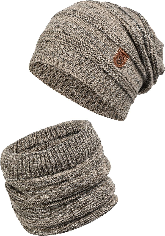 Oversize Beanie /& Tubolare in Maglia Long Slouch per Uomo Indicode Uomo Brydges Set Invernale Berretto E Sciarpa