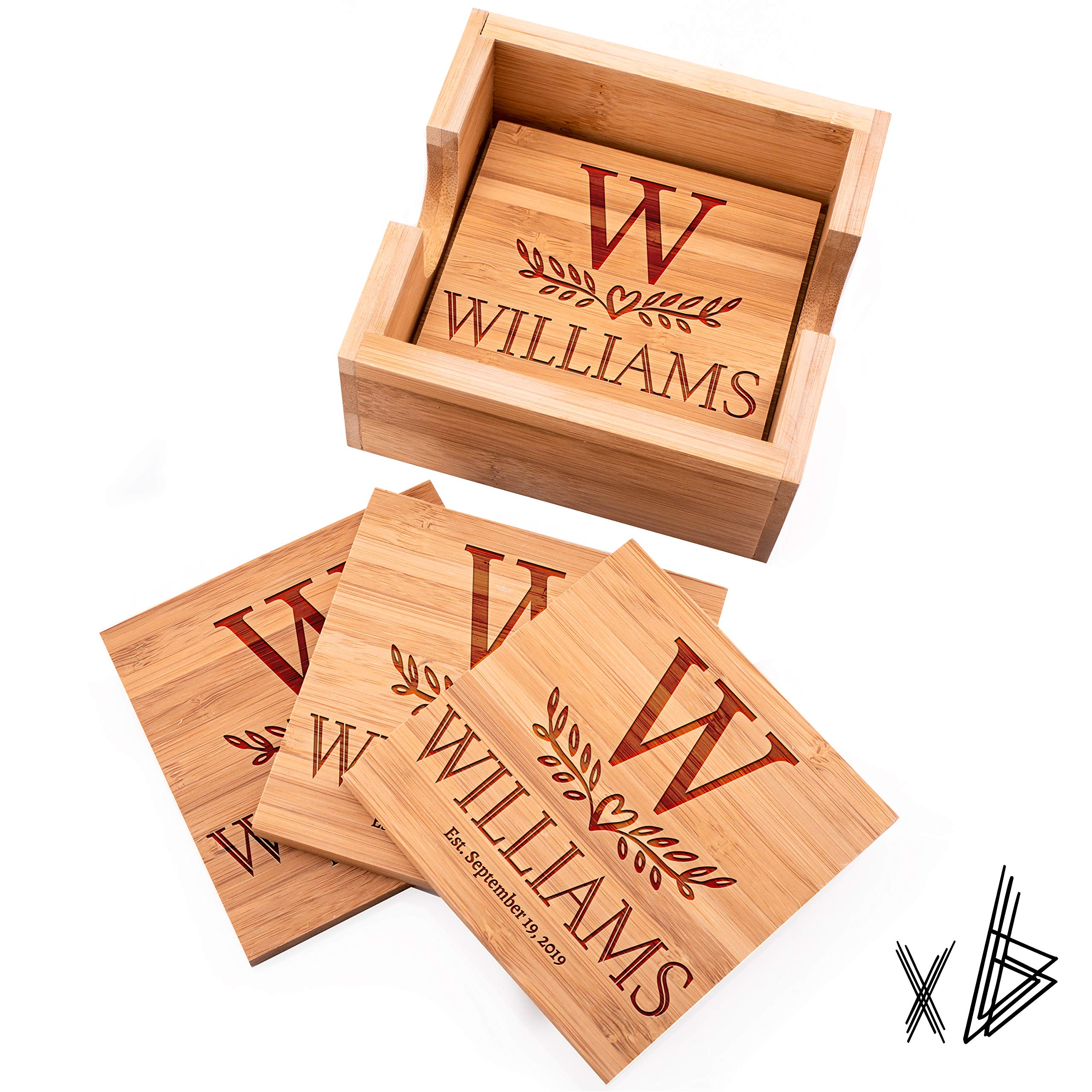 Personalized Bamboo Coaster - Free Laser Engraved Customization (6, Personalized)