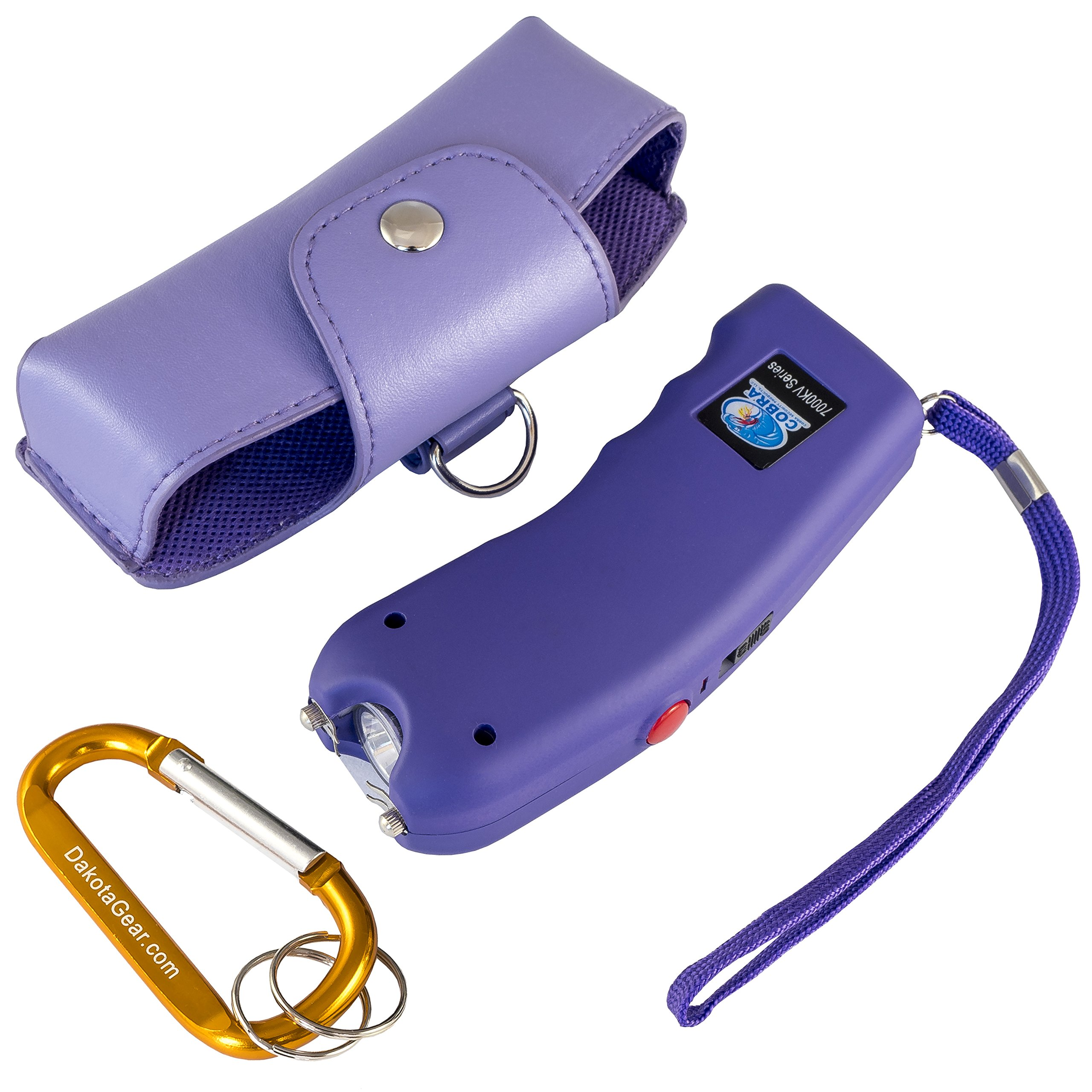 Stun Gun w/Flashlight, Panic Alarm, Rechargeable Internal Battery, Safety Pin, Wrist Strap, Carabiner & Clip-on Carry Case. Includes Quick Set-up and ''How To'' Guides. (Protective Purple)