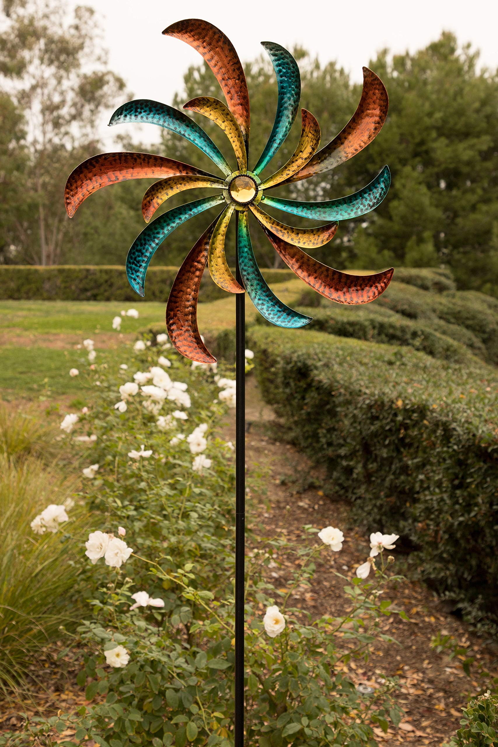Alpine SLL1874 Colorful Swirl Kinetic Wind Spinner Garden Stake, 64 Inch Tall Multi