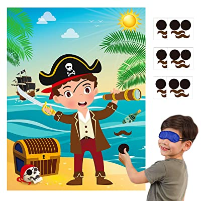 MALLMALL6 Pirate Stickers Party Games for Kids Pin The Eye Patch and Mustache On The Pirates Poster Birthday Party Favors Pin Game Include Blindfold Sticker Caribbean Pirate Party Supplies Decorations: Toys & Games