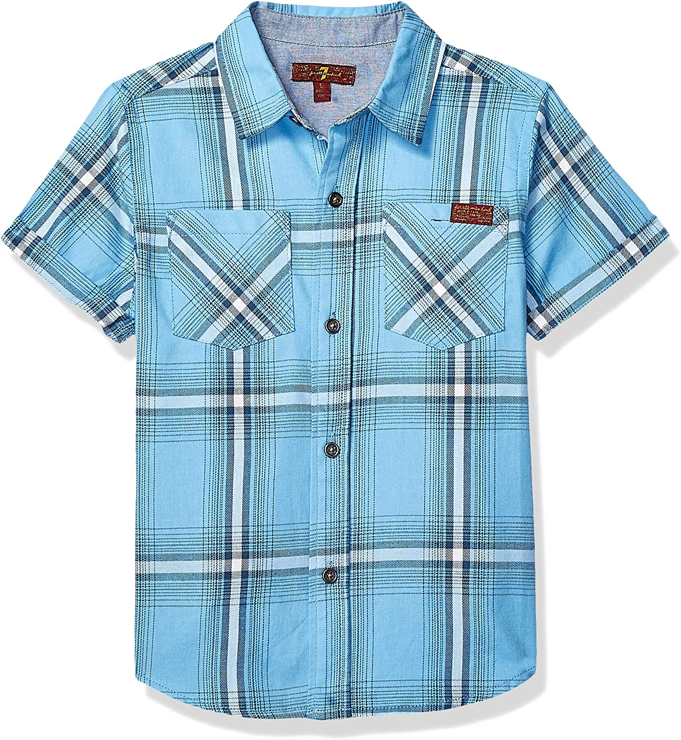 7 For All Mankind Boys' Short Sleeve Washed Twill Sport Shirt