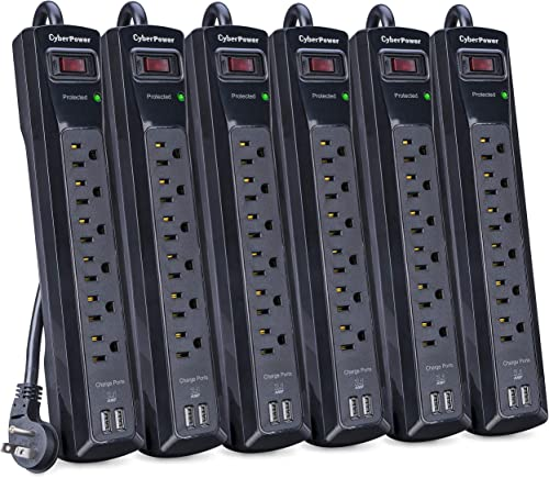 CyberPower CSP604UMP6 Professional Surge Protector, 1200J 125V, 6 Outlets, 2 USB Charge Ports, 4ft Power Cord, 6 Pack