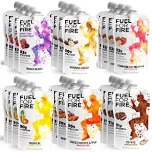 Fuel For Fire - Variety Pack with All 6 Flavors (24 Pack) Including New Mixed Berry! Fruit & Protein Smoothie Squeeze Pouch |Gluten Free, Soy Free, Kosher, No Added Sugar (4.5 ounce pouches)