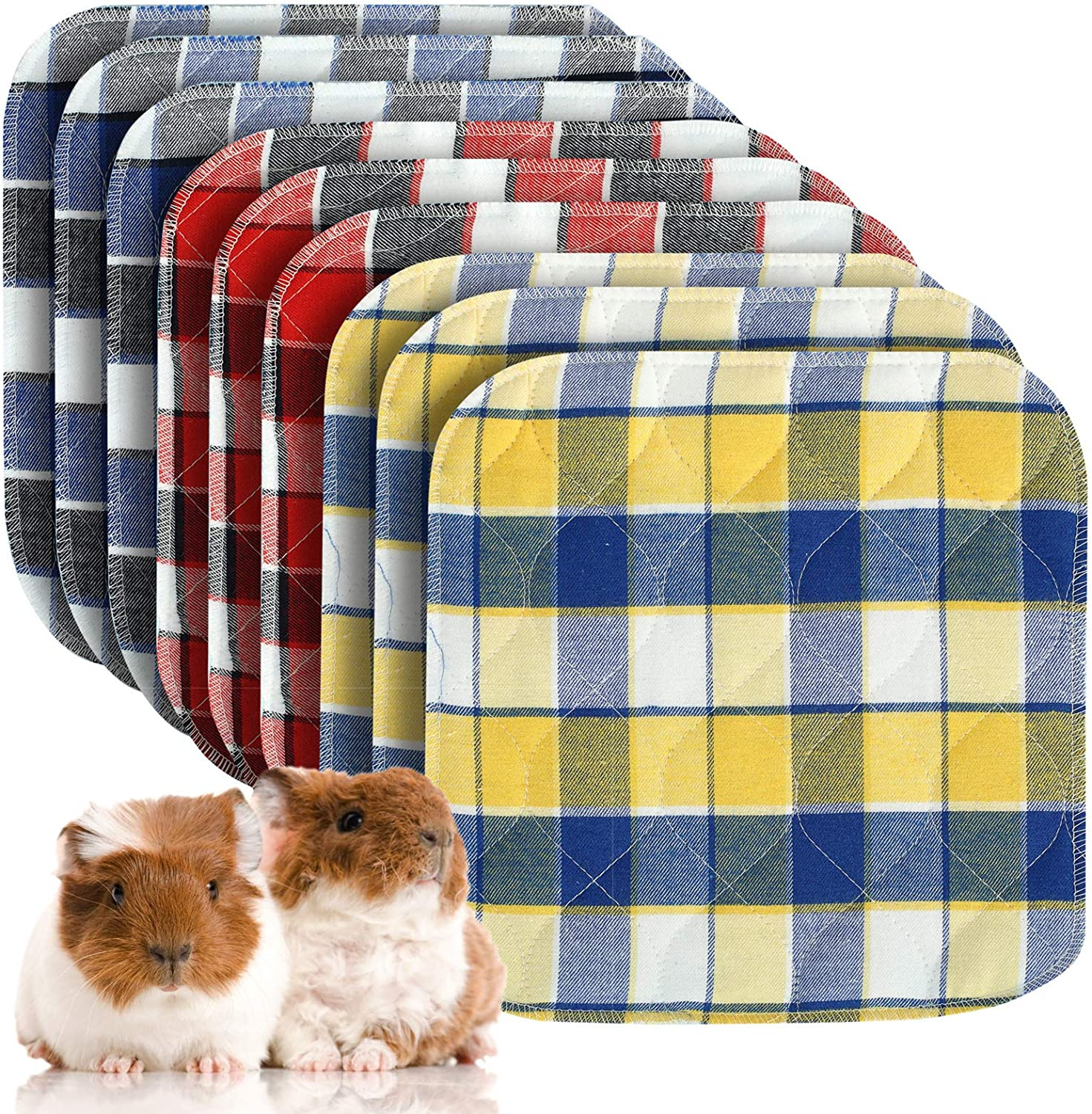 Pack of 9 Guinea Pig Washable Pee Pads- 10 × 10 Inch Fast Absorbent Non-Slip Guinea Pig Beddings Reusable Cage Liners for Puppy, Rabbits, Hamsters, Bunnies, Gerbils, Other Small Animals