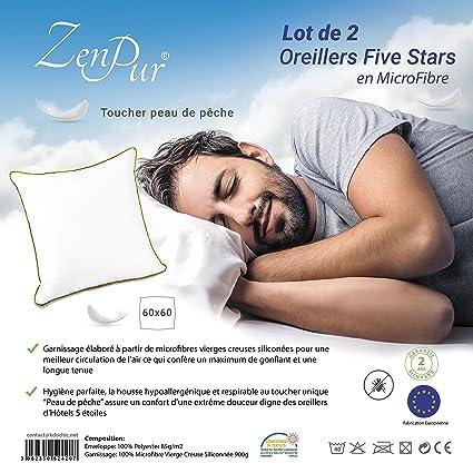 ZenPur® Almohada Microfibra Suave Sensual Prime [Set de 2] – Almohada Calidad Hotel