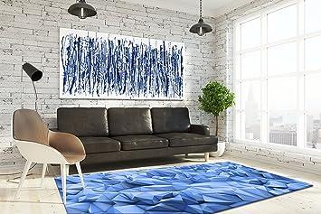 Keymura Moderner Teppich Mit Schonem Druck Design Blaue Kristalle