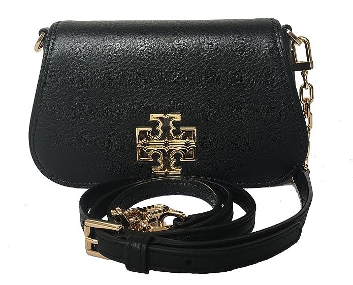 f2fc733a4c4 Tory Burch 39058 209 Britten Mini Chain Bark Pebbled Leather Gold-Tone  Hardware Crossbody Handbag: Handbags: Amazon.com