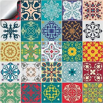 24x multicolore mosaïque Autocollants adhésifs 15x15cm du film 2D pour les  tuiles couvrent la couche mince pour des tuiles de salle de bains ou de ...