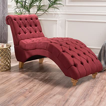 Bellanca Fabric Tufted Chaise Lounge Chair (Deep Red)