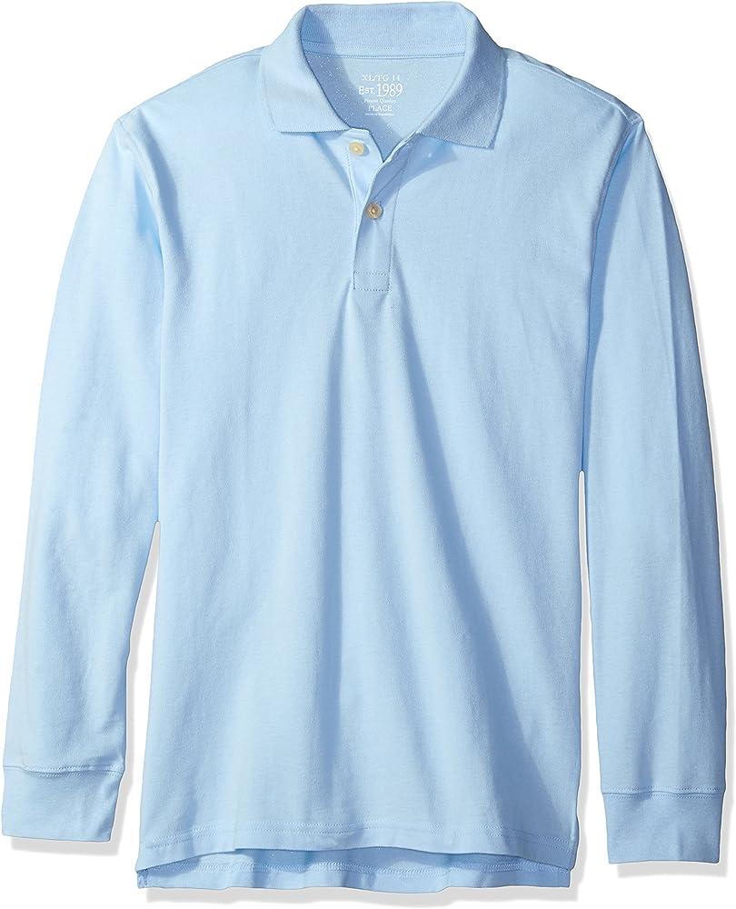 Brook X-Large//14 The Childrens Place Big Boys Long Sleeve Uniform Polo