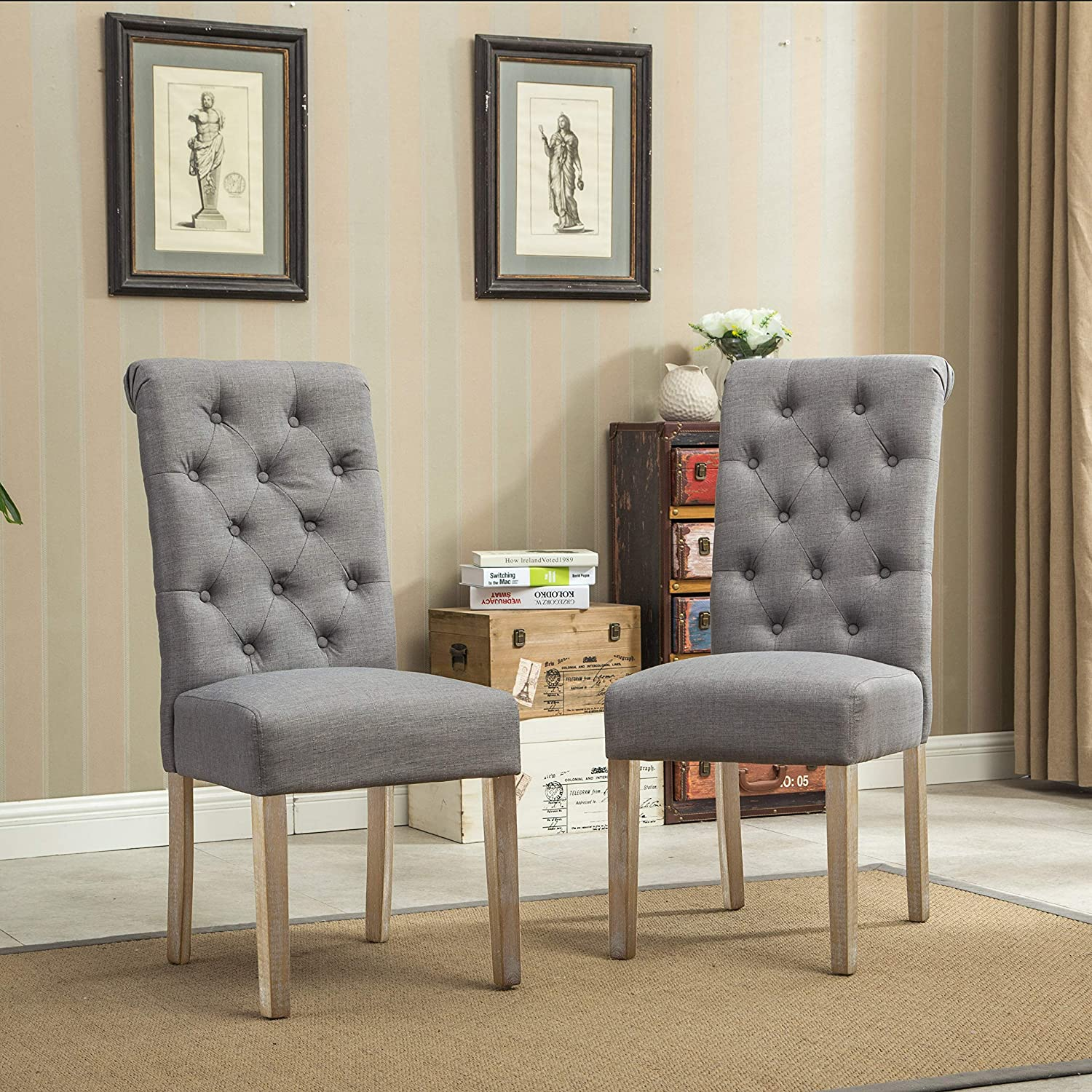 Roundhill Furniture Habit Grey Solid Wood Tufted Parsons Dining Chair Set Of 2 Gray Amazon Ca Home Kitchen