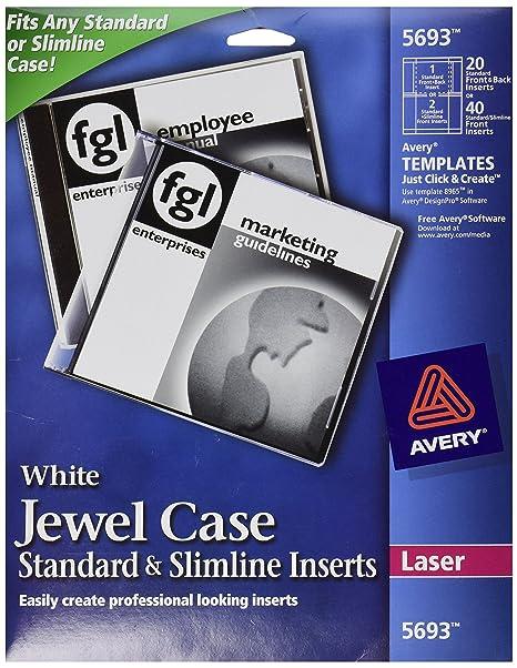 Amazon Avery Laser Cddvd Jewel Case Inserts Matte White 20
