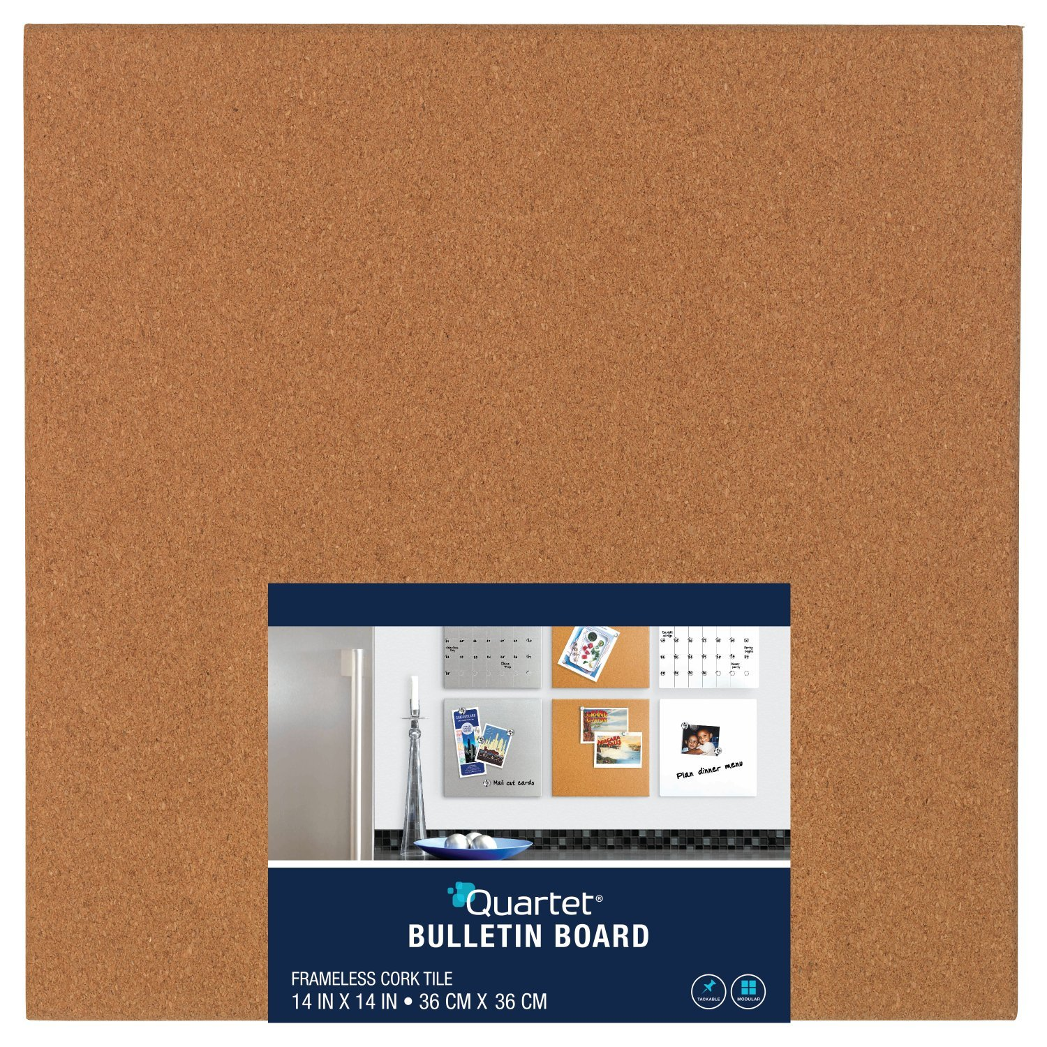 Quartet Frameless Modular Tile Bulletin Board, 14 x 14 Inches, Cork (48112)