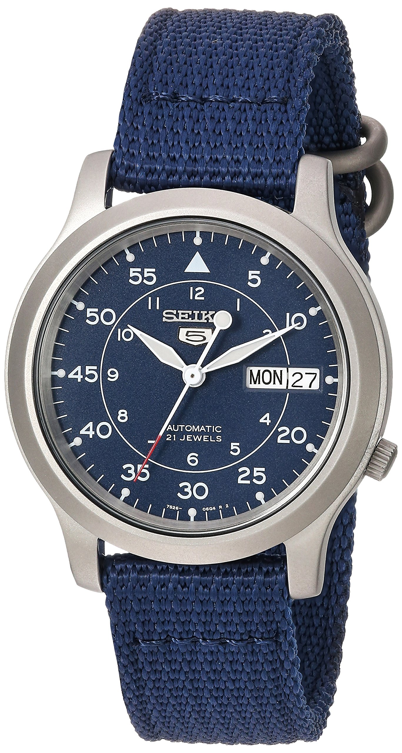 Seiko Men's SNK807 Seiko 5 Automatic Stainless Steel Watch with Blue Canvas Band by SEIKO