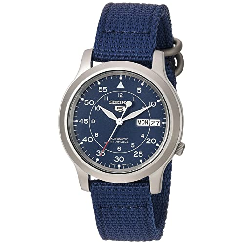 Seiko 5 Men's Automatic Watch with Blue Dial Analogue Display and Blue Fabric