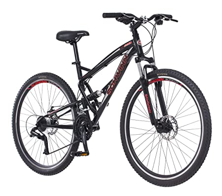 side facing schwinn s29 dual-suspension mountain bike