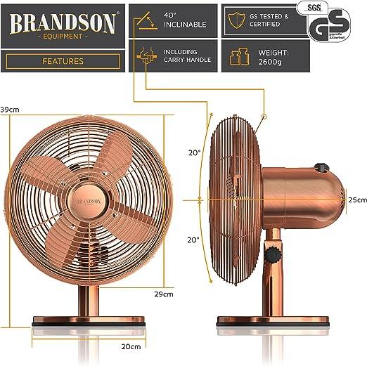 Brandson – Ventilador de Sobremesa Retro Copperline | Ventilador ...
