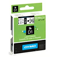 Dymo S0720530  D1 Etiquettes Standard 12 mm x 7 m - Noir sur Blanc