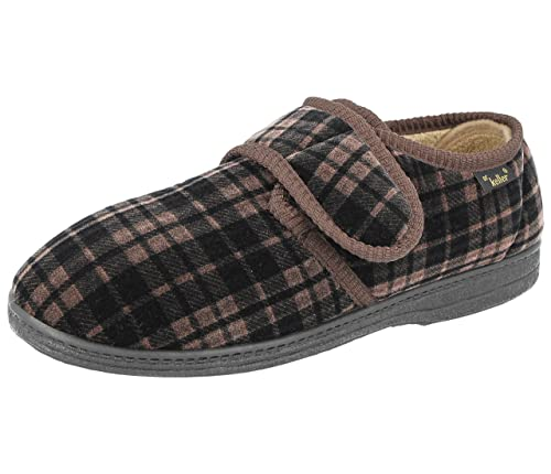 f83639be585 Men s Dr Keller Dr Don Wide Fitting Strap Fastener Check Slipper with  Memory Insole Size 6-12