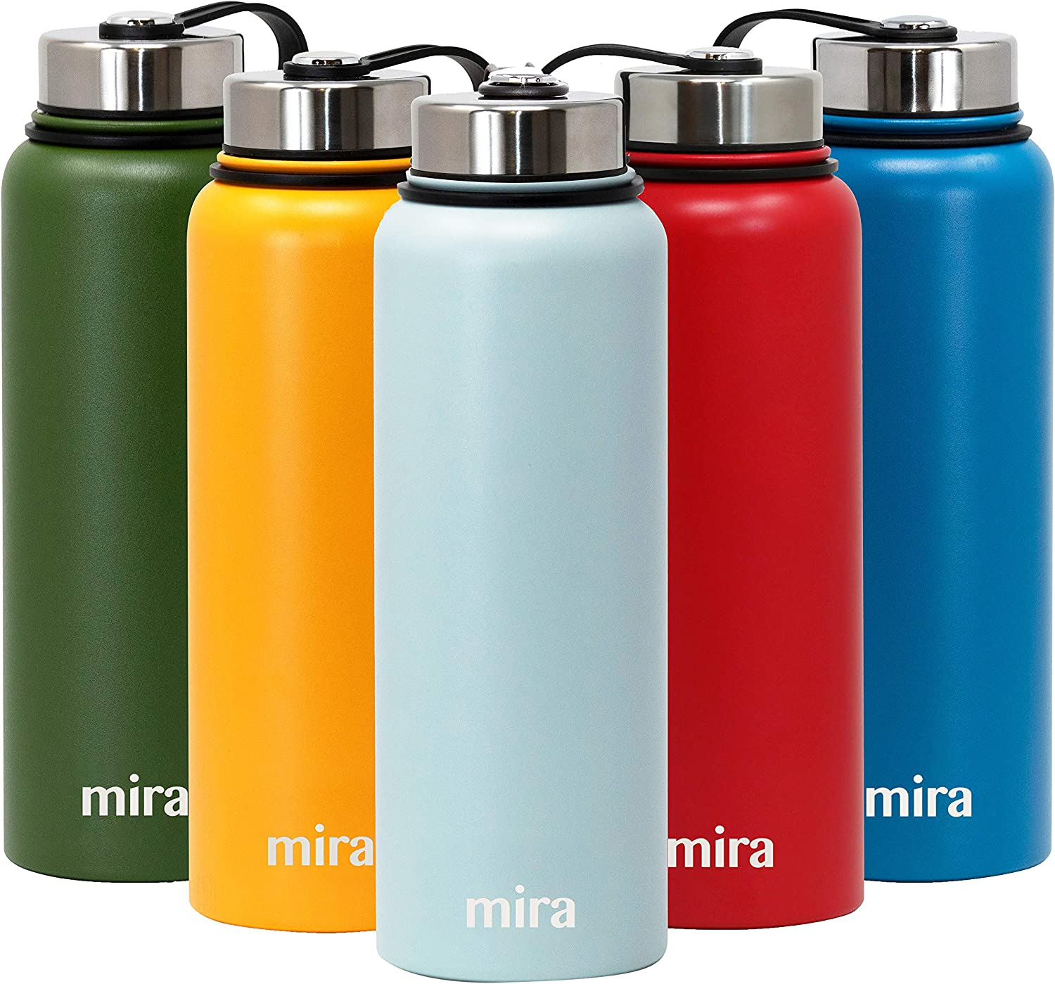 MIRA 40 oz Stainless Steel Vacuum Insulated Wide Mouth Water Bottle   Thermos Keeps Cold for 24 hours, Hot for 12 hours   Double Walled Powder Coated Travel Flask   Pearl Blue