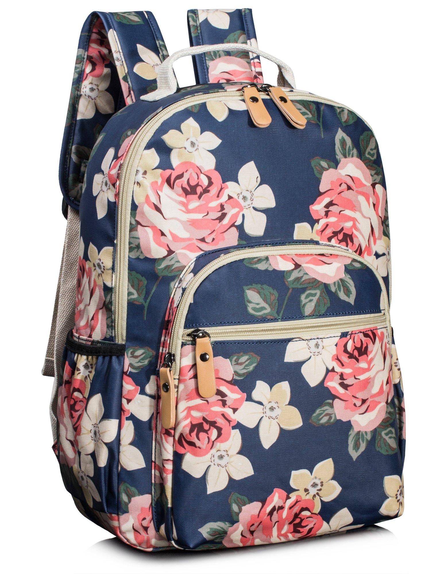 Leaper Floral School Backpack for Girls Travel Bag Bookbag Satchel Dark Blue by Leaper