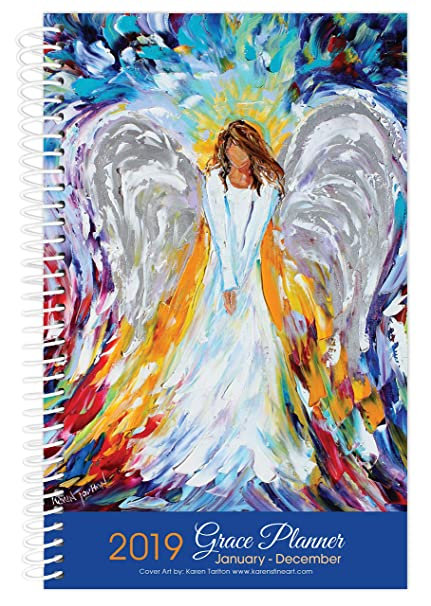 2019 angel art inspirational christian planner daily weekly monthly january to december calendar year