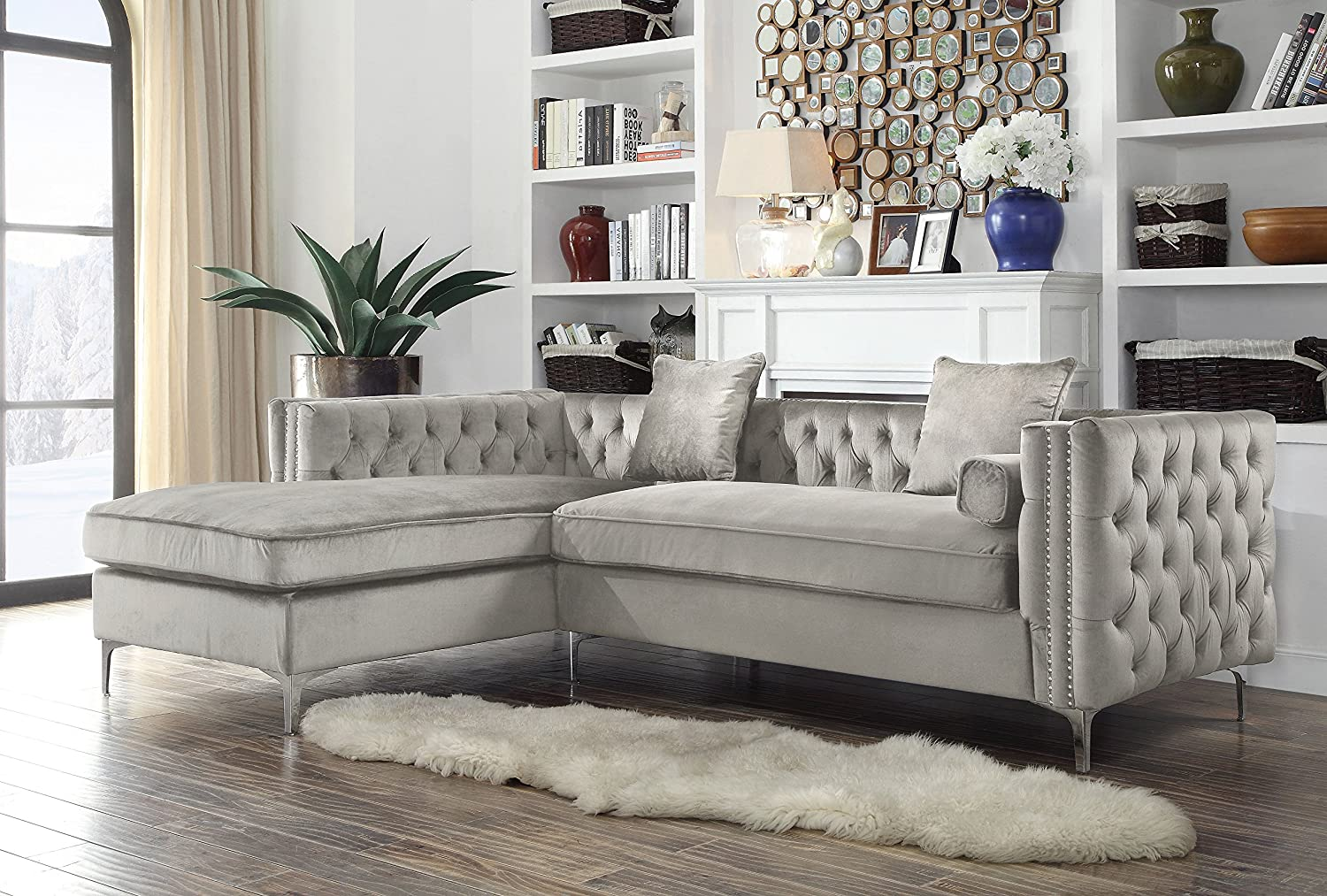 Iconic home chic home da vinci velvet modern contemporary button tufted with silver nailhead trim silvertone metal y leg left facing sectional sofa silver