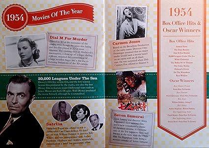 1954 cumpleaños o aniversario regalos - 1954 4-en-1 tarjeta y regalo - Historia de su Año, CD, Music Download - 15 Gráfico originales Canciones - Presente ...