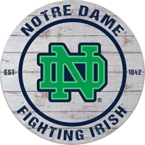 "KH Sports Fan 20""x20"" Classic Notre Dame Fighting Irish Weathered Circle Sign"