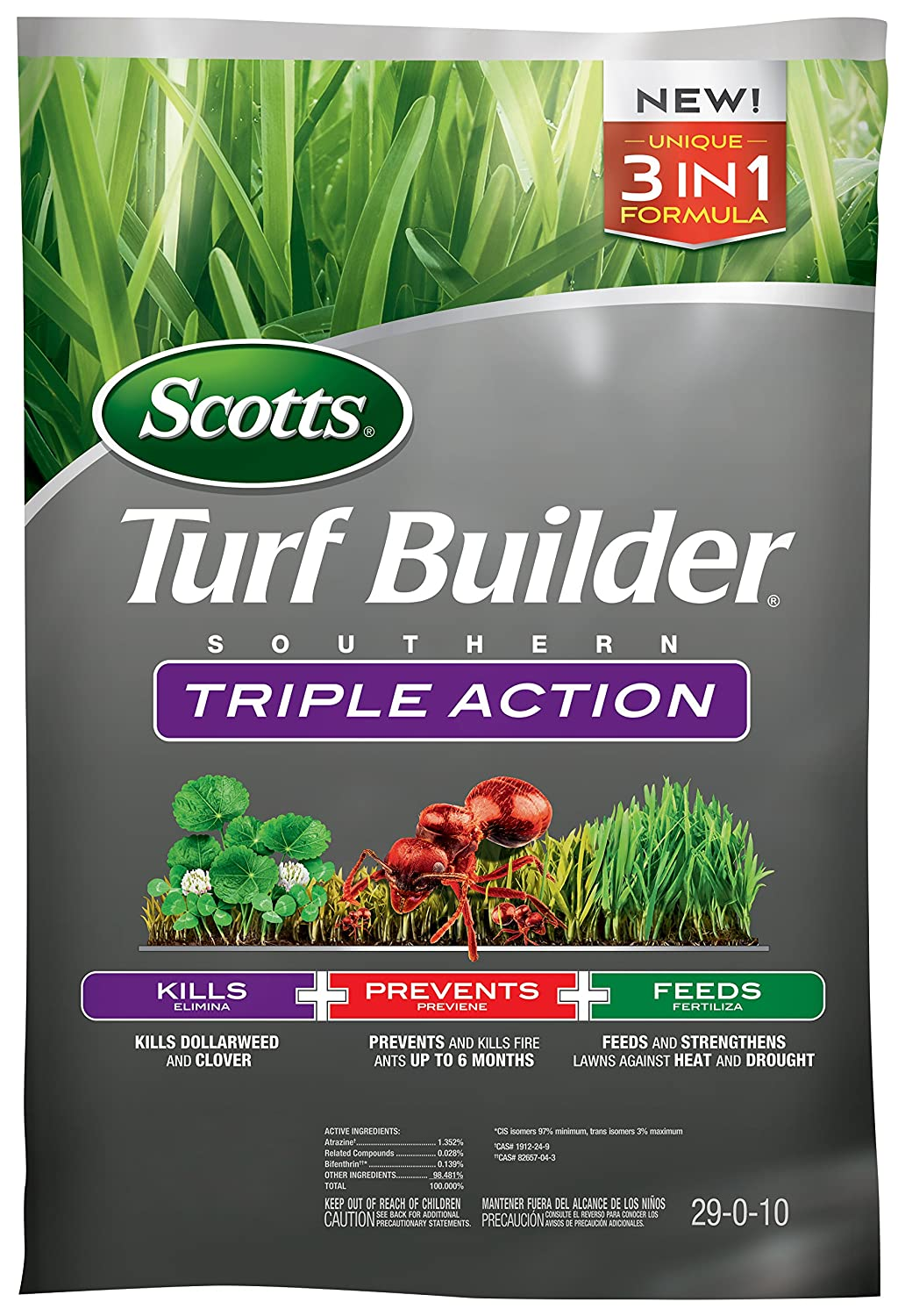 Scotts Turf Builder Southern Triple Action, 26.84 lb. - Kills Dollarweed and Clover, Prevents and Kills Fire Ants, Feeds and Strengthens Lawns - Covers up to 8,000 sq. ft.